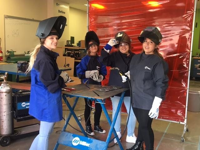 Alex, Haley, Jennica, and Isabel learn to weld
