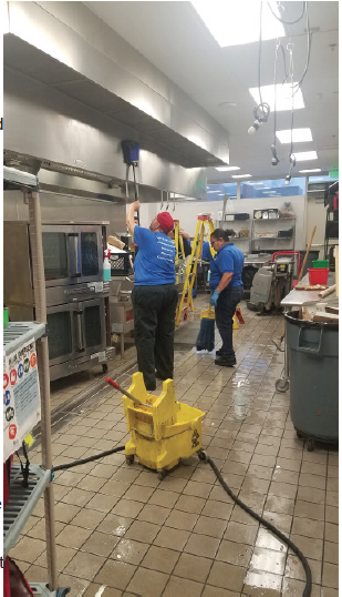 Kitchen manager Cheryl Hicks and the entire cafeteria staff deep clean the kitchen. Photo by Pirateer Staff