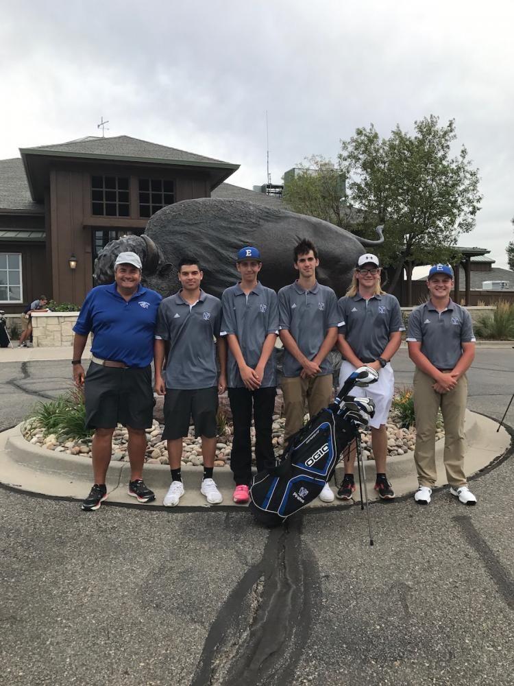 EHS golf team at Buffalo Run in Commerce City. (l-r) Coach Bill Ambron, Joseph Rivera-Martinez (12), Bryton Douglas (10), Chaice Soderstrom (12), Spencer Freemire (12), Thomas OConnor (11).