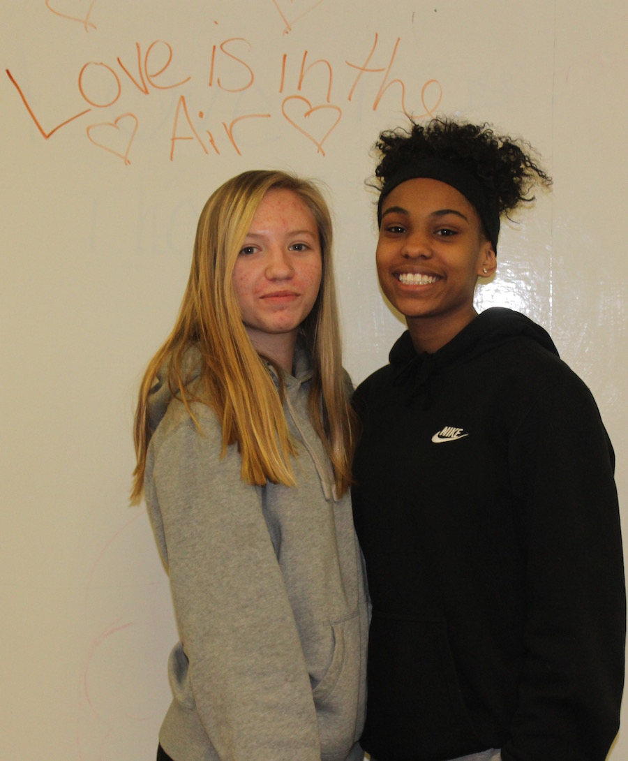 Rayna Davis and Ariana Wilborn get ready for the Valentines Dance
