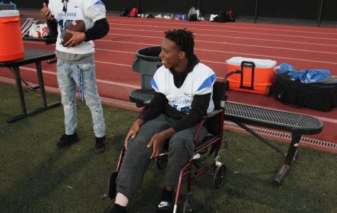Starting cornerback Zack Cave (10) watches his team from the sidelines at All City Stadium