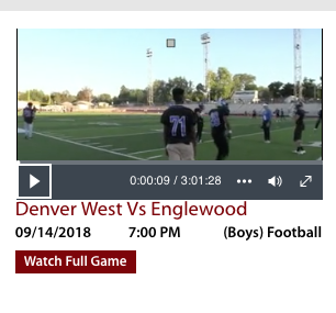Live stream link: Homecoming game 2018 VS Denver West