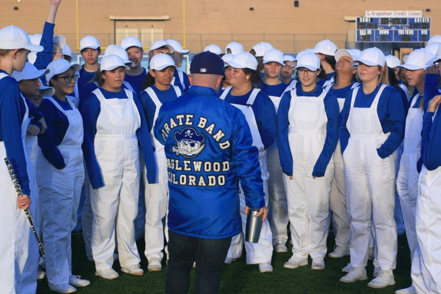 Band+Director+Phil+Emery+%28in+blue+jacket%29+organizes+students+ahead+of+the+state+competition.+
