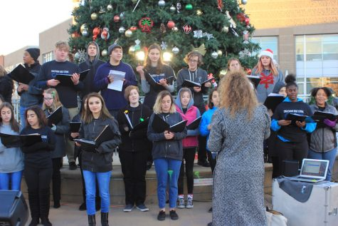EHS choirs sing for residents at the tree lighting ceremony