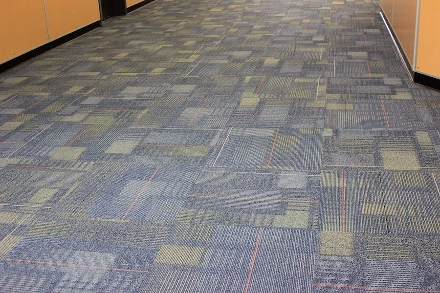 The+carpet+in+the+middle+school+hallway+cuts+down+on+sound.+