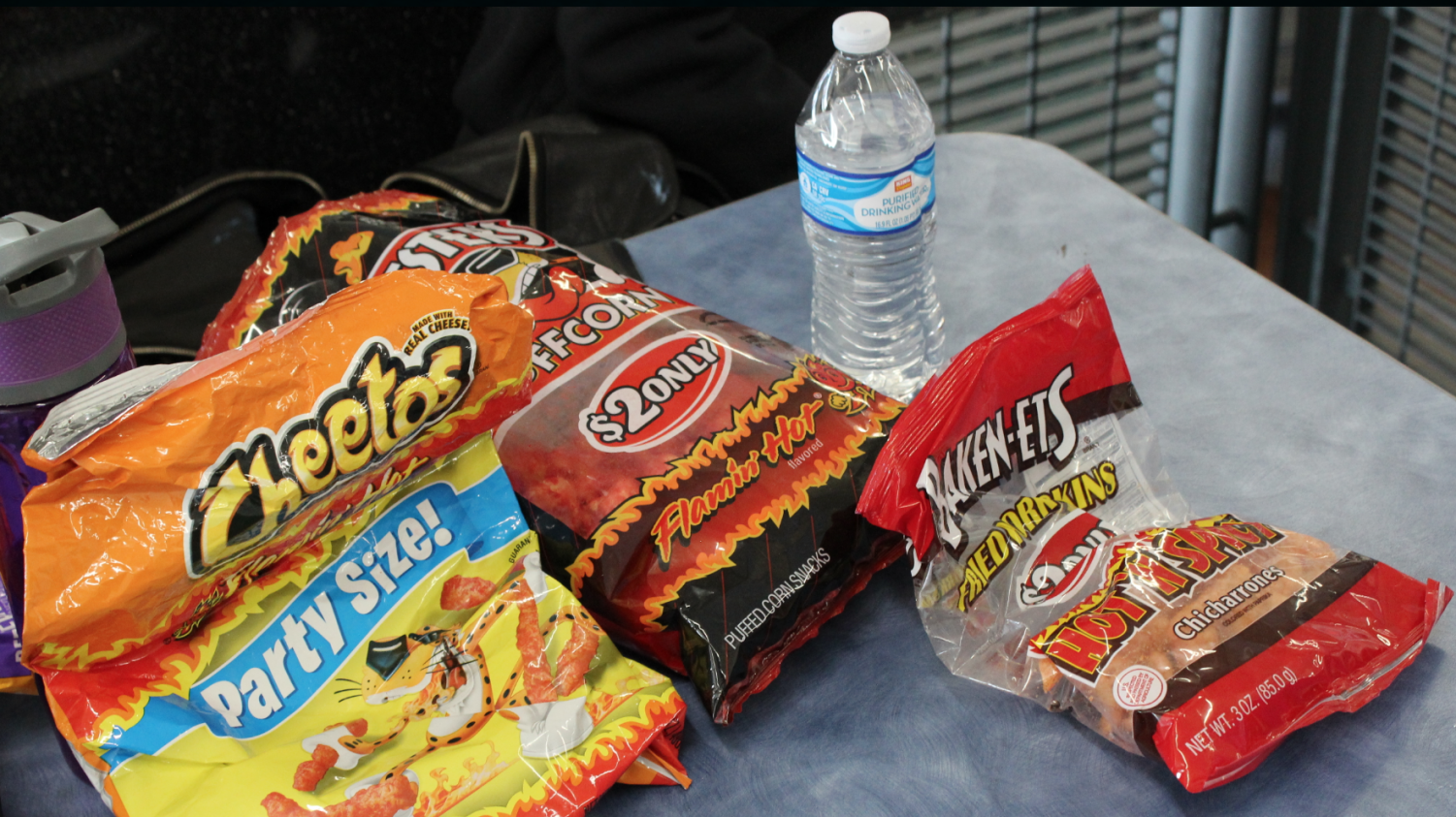 Students gather loads of snacks to get them through the day.