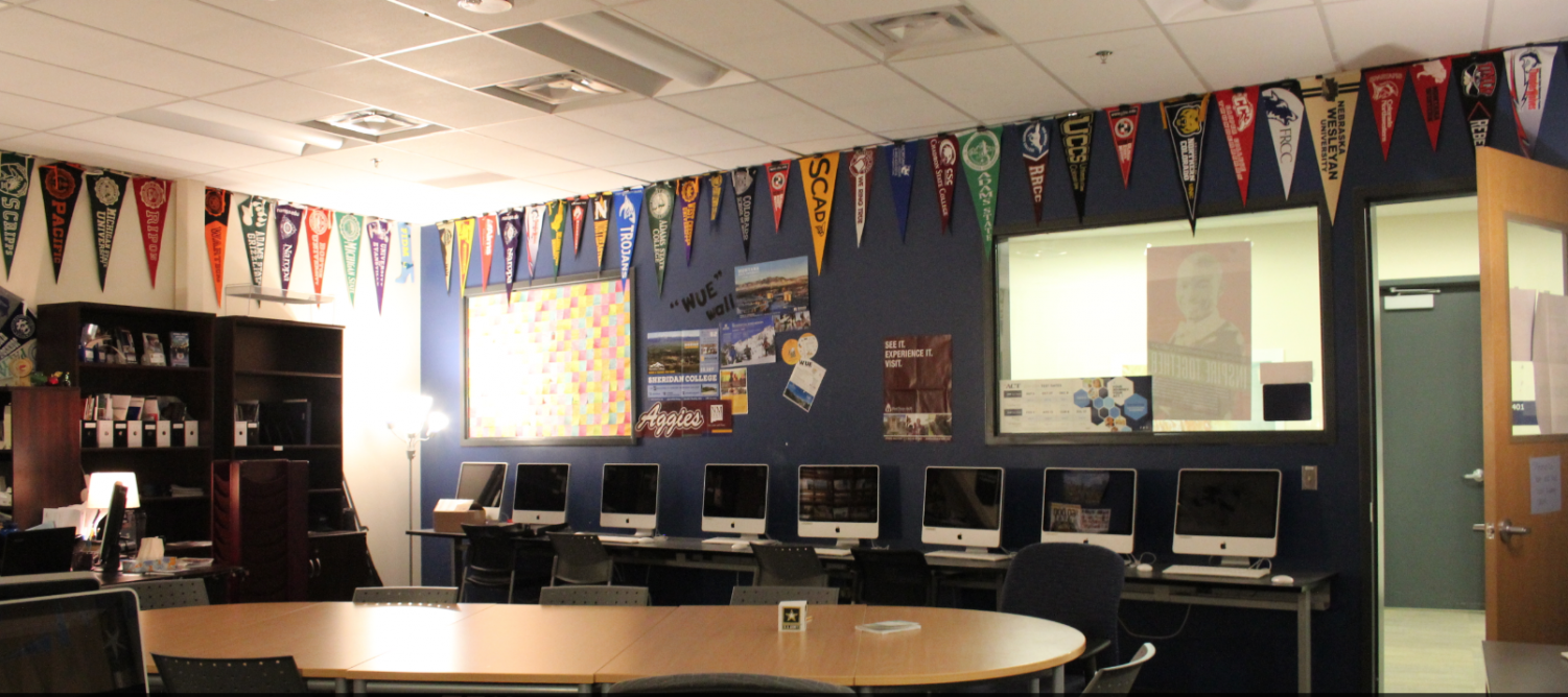 College banners line the ceiling in the Career Center at EHS.