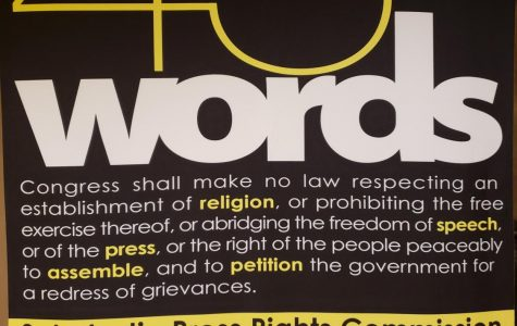 """45 Words"" is the JEA conference focus this year for the annual national conference. It refers to the words outlined in the First Amendment of the Constitution which includes Freedom of Speech."