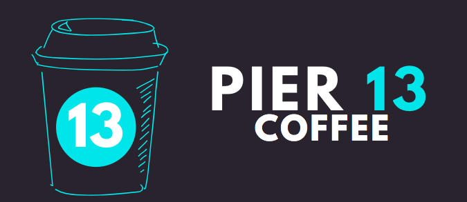 Pier+13+Coffee+Logo+was+designed+as+a+class.+Color+and+font+was+chosen+to+be+easily+read+and+on+trend+with+style.+