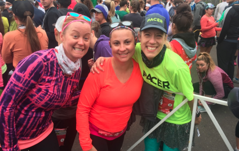 Amy Campbell, MaryBeth Evans, and Mary Abbott at the start of the Half Marathon