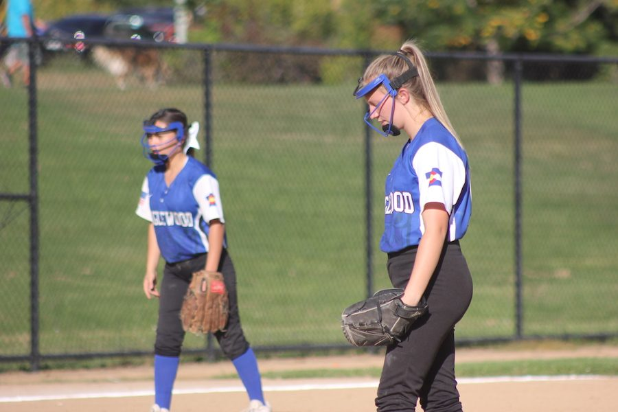 Rayna Davis is the pitcher for Englewood. Davis threw some strong strikes during the match-up