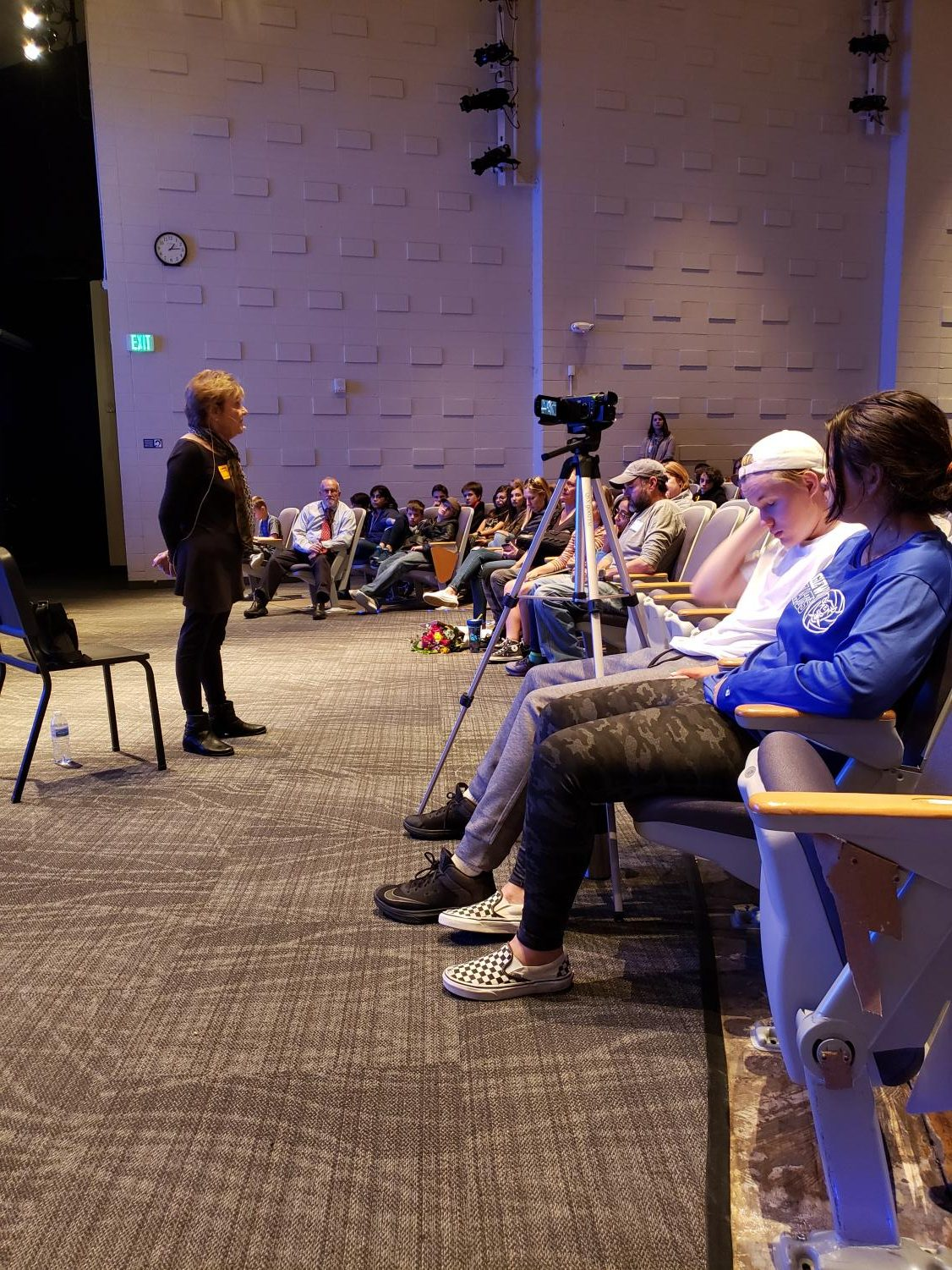Holocaust+survivor+Estelle+Nadel+speaks+to+students+about+her+experiences+with+German+soldiers+during+WW2.+Broadcast+Journalism+students+were+honored+to+sit+in+on+the+session+and+record+her+story.+