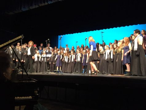 "Final performance of the RMICF joining schools from all over the front range, """"It was really cool, a lot of schools came and the guest director was really nice. We all got to sing together,"" said Katie Moraja (11)."