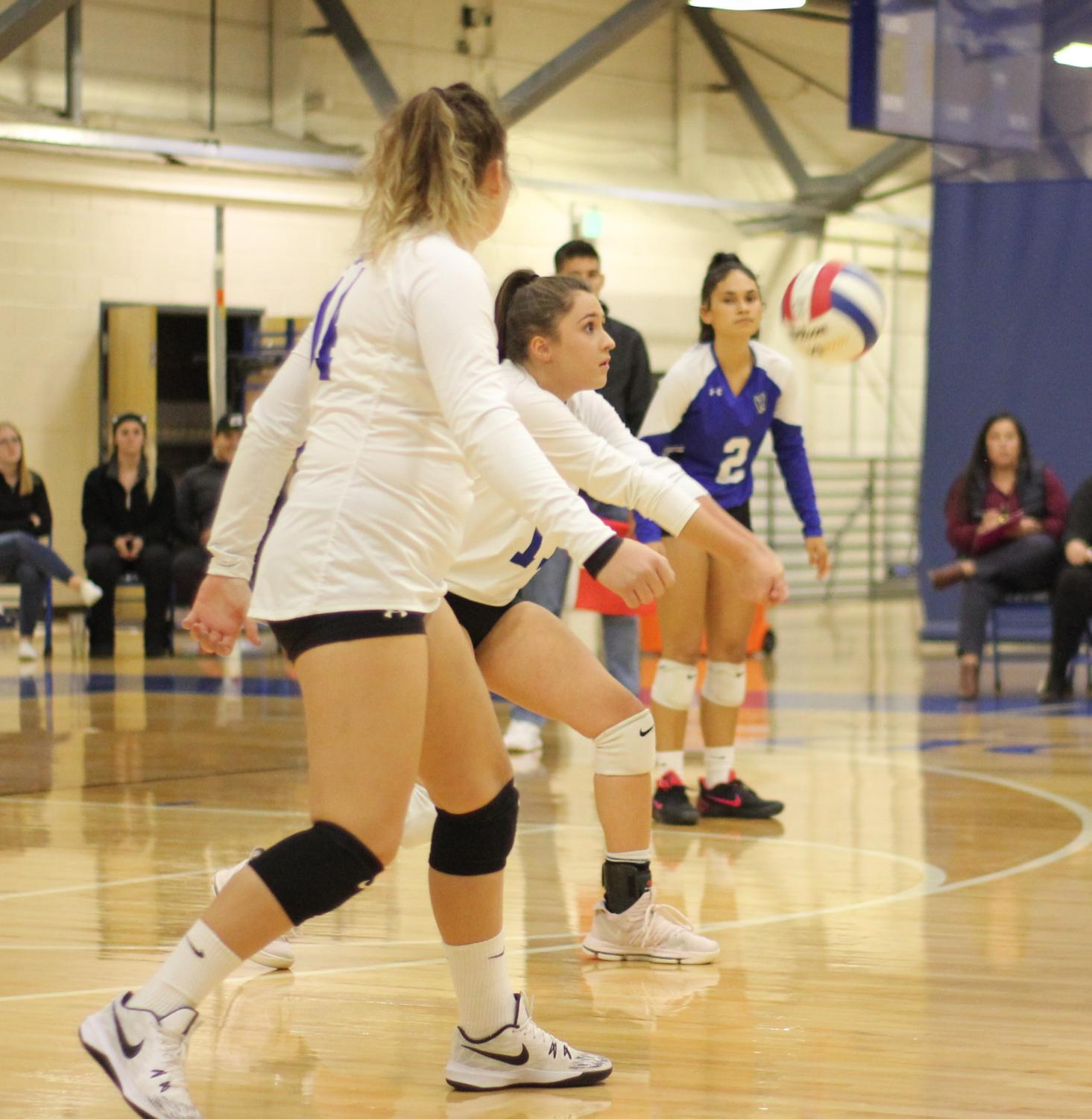 Deveyn+Hainey+gets+into+position+ready+to+bump+a+ball+spiked+over+the+net.+