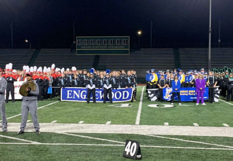 Marching band accepts their award for third place after the event held in Grand Junction, Co.