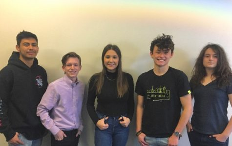 Five EHS students went through the long process of interviewing for the opportunity to work in a paid internship at Lockheed Martin. (l-r)   Ethan Cuenca, Dylan Gruska, Deveyn Hainey, Dustin Trevino and Isabella Pellegrino, all seniors will work over the summer with an expert team,