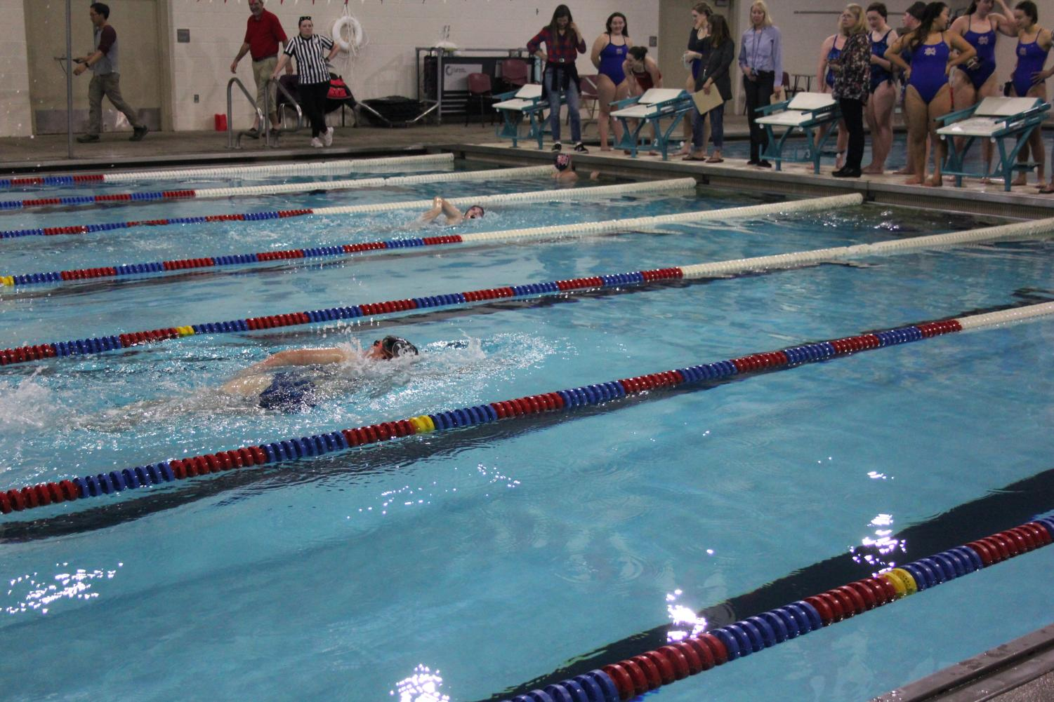 It+is+hard+to+push+through+the+water+when+you+know+you+have+another+lap+ahead+of+you.+But+swimmers+learn+to+pace+themselves.+