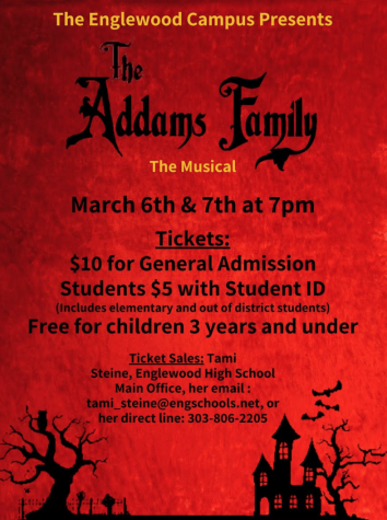 Poster for the Addams Family that includes the prices, show dates and location of the play.