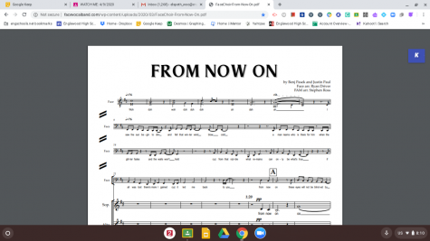 Image of the music that the choirs are using to practice for a virtual choir with FACE Vocal Band.